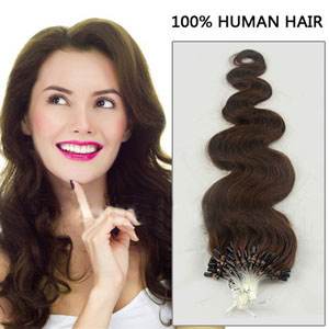 34 Inch Bestseller #4 Medium Brown Body Wave Micro Loop Hair Extensions 100 Strands