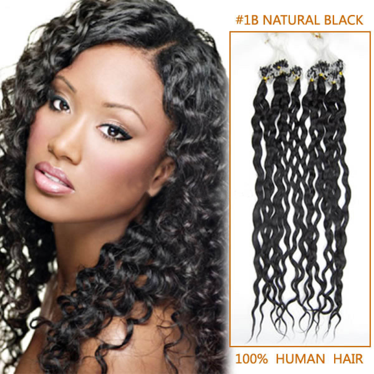 34 inch delicate  1b natural black curly micro loop hair extensions 100 strands 21667 t