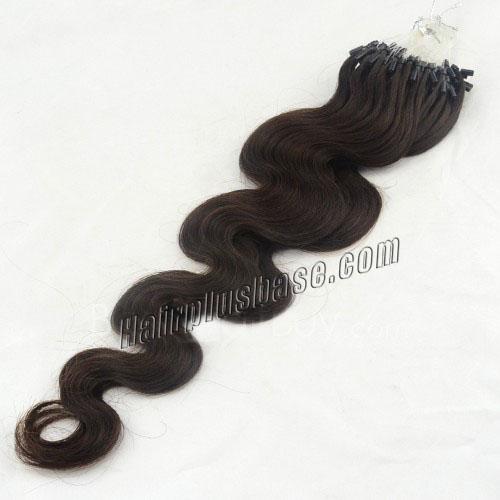 34 inch fascinating  2 dark brown body wave micro loop hair extensions 100 strands 21649 0v