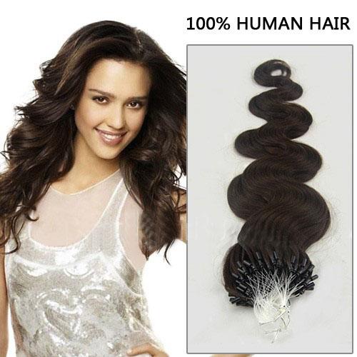 34 inch fascinating  2 dark brown body wave micro loop hair extensions 100 strands 21649 t