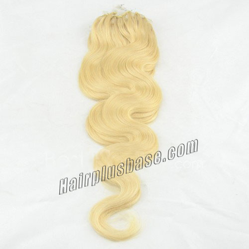 34 inch glamorous  60 white blonde body wave micro loop hair extensions 100 strands 21620 0v