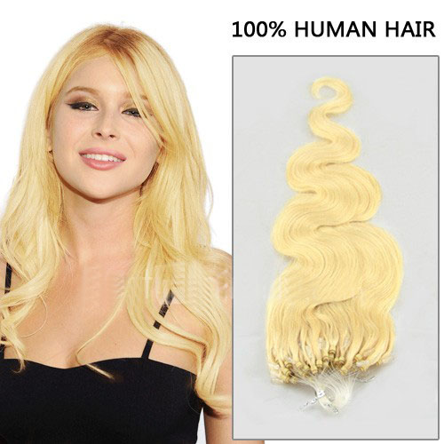 34 inch glamorous  60 white blonde body wave micro loop hair extensions 100 strands 21620 t