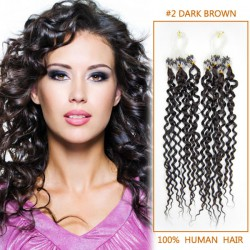 34 inch glaring  2 dark brown curly micro loop hair extensions 100 strands 21653 t
