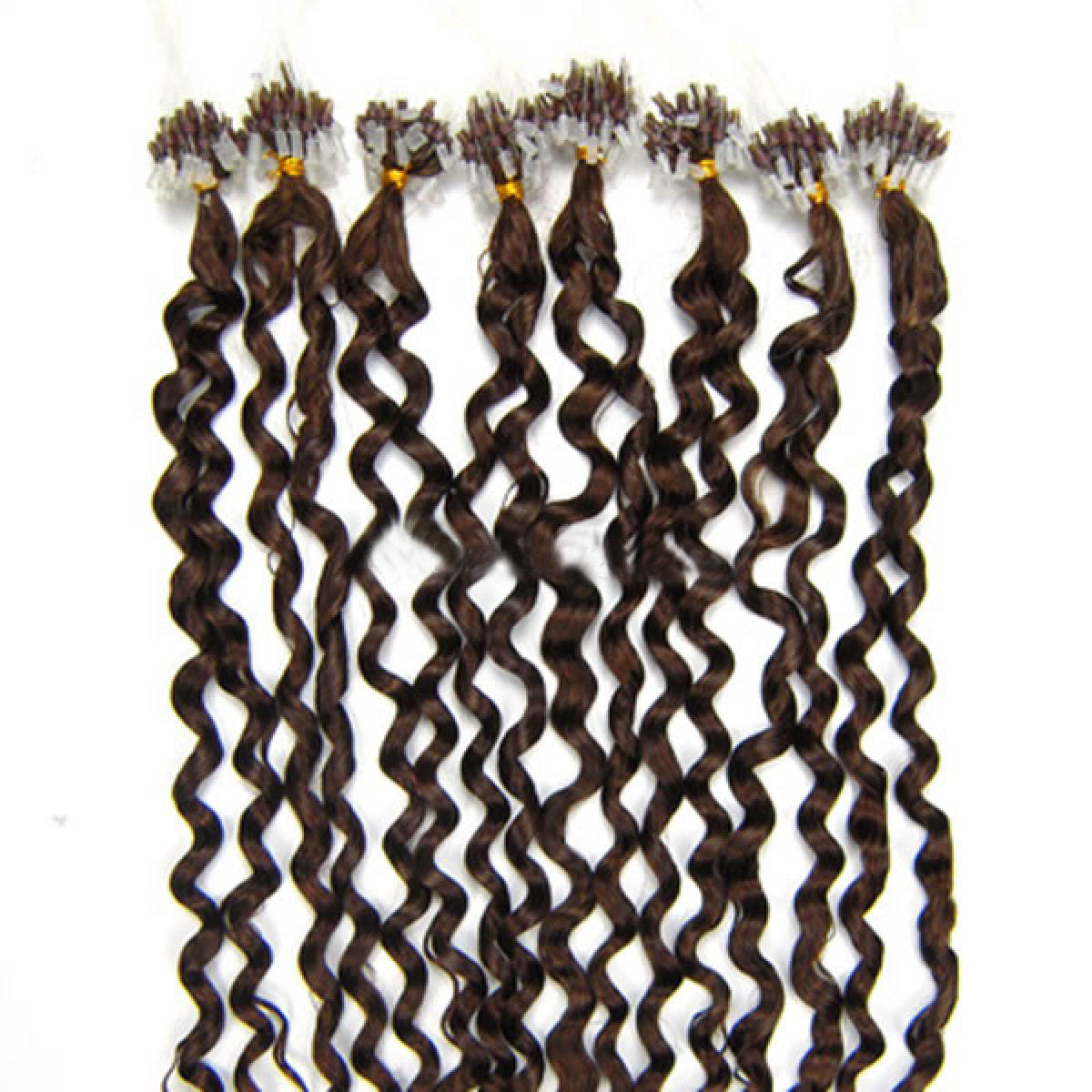 34 inch gorgeous  4 medium brown curly micro loop hair extensions 100 strands 21677 0v