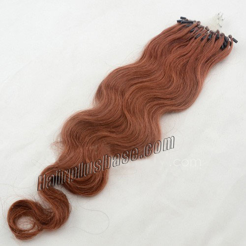 34 inch lovely  33 rich copper red body wave micro loop hair extensions 100 strands 21631 0v
