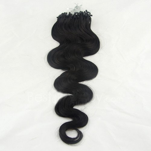 34 inch nicety  1 jet black body wave micro loop hair extensions 100 strands 21719 0v