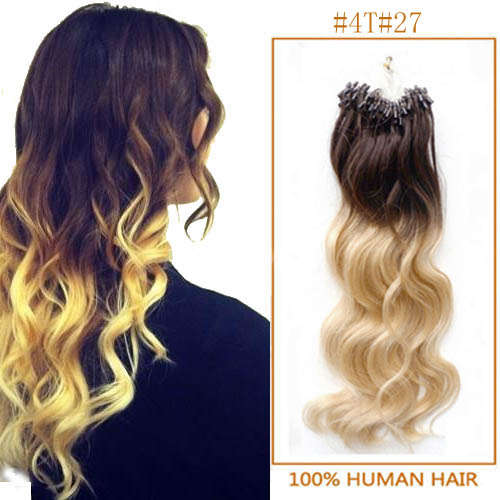 34 inch ombre body wave micro loop hair extensions two tone 100s 22625 t