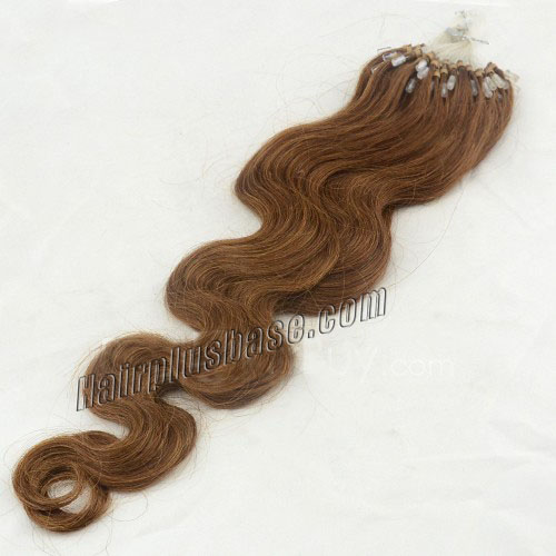 34 inch rich  8 ash brown body wave micro loop hair extensions 100 strands 21644 0v