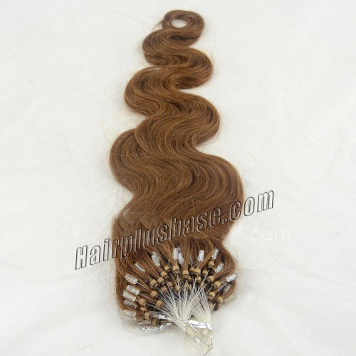 34 inch rich  8 ash brown body wave micro loop hair extensions 100 strands 21644 1v