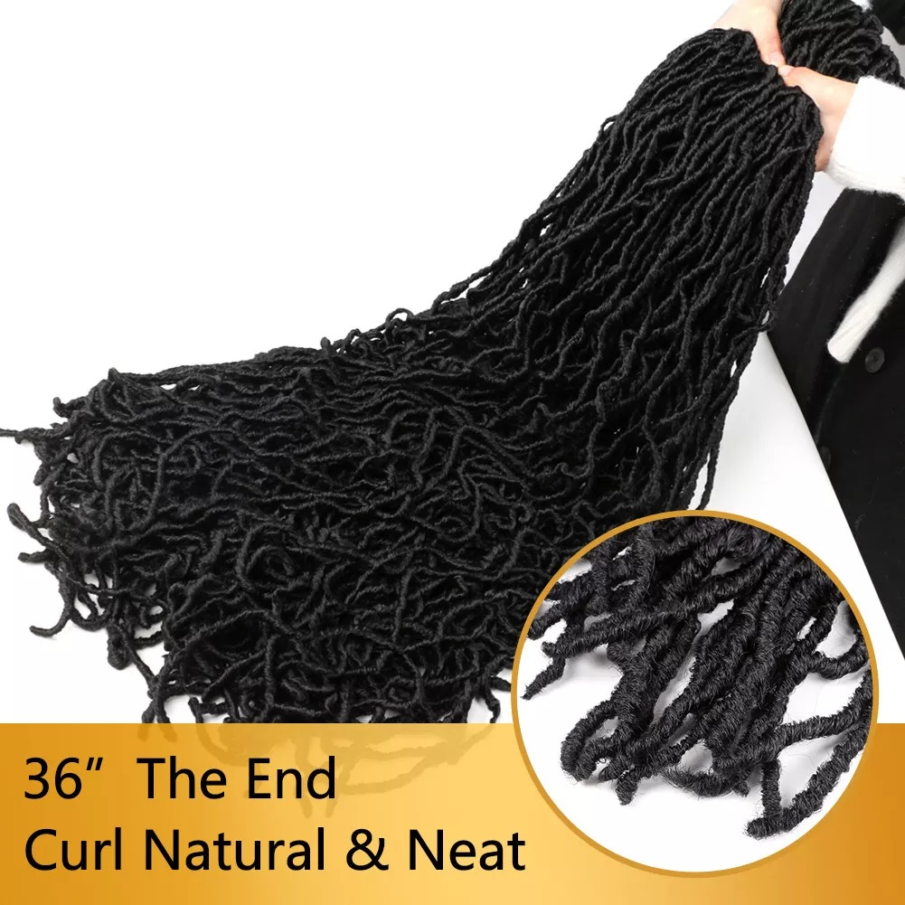 36 Inch Faux Locs Crochet Hair Goddess Locs, 21 Strands Faux Soft Locs Crochet Braids Curly 2