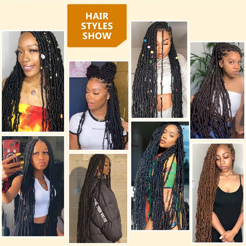 36 Inch Faux Locs Crochet Hair Goddess Locs, 21 Strands Faux Soft Locs Crochet Braids Curly 4