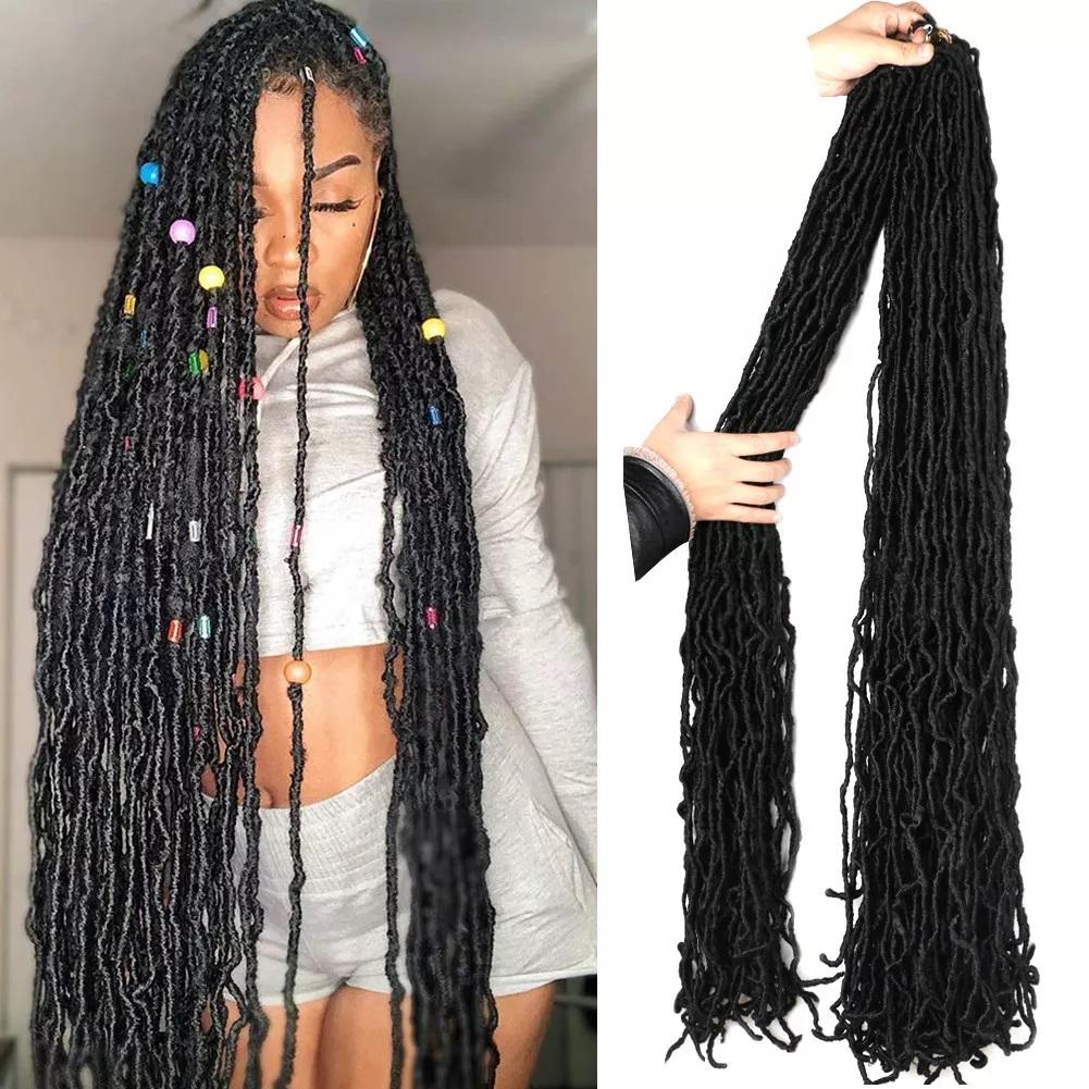 36 Inch Faux Locs Crochet Hair Goddess Locs, 21 Strands Faux Soft Locs Crochet Braids Curly 14