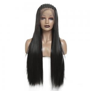 36 Inch Long Braided Wig Box Braids Hair Synthetic Lace Front Wig Black Straight Wigs For Women Heat Resistant