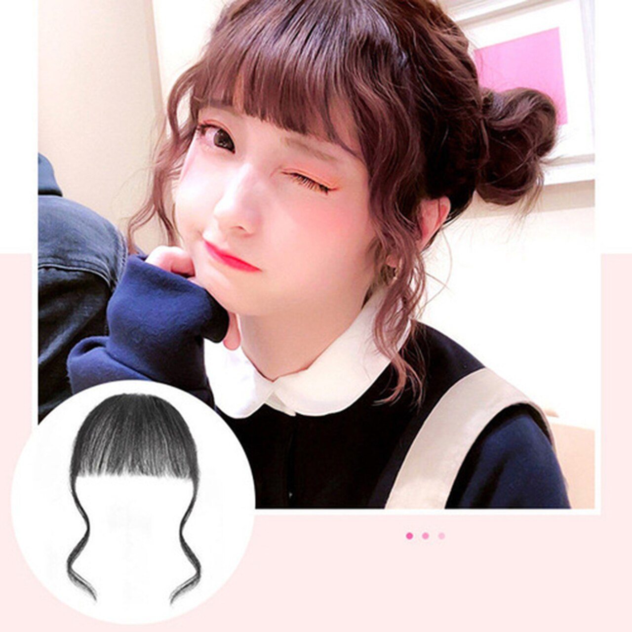 3D Clip In Bangs 100% Human Hair Air Extension Hair Piece Fringe Front Hairpiece