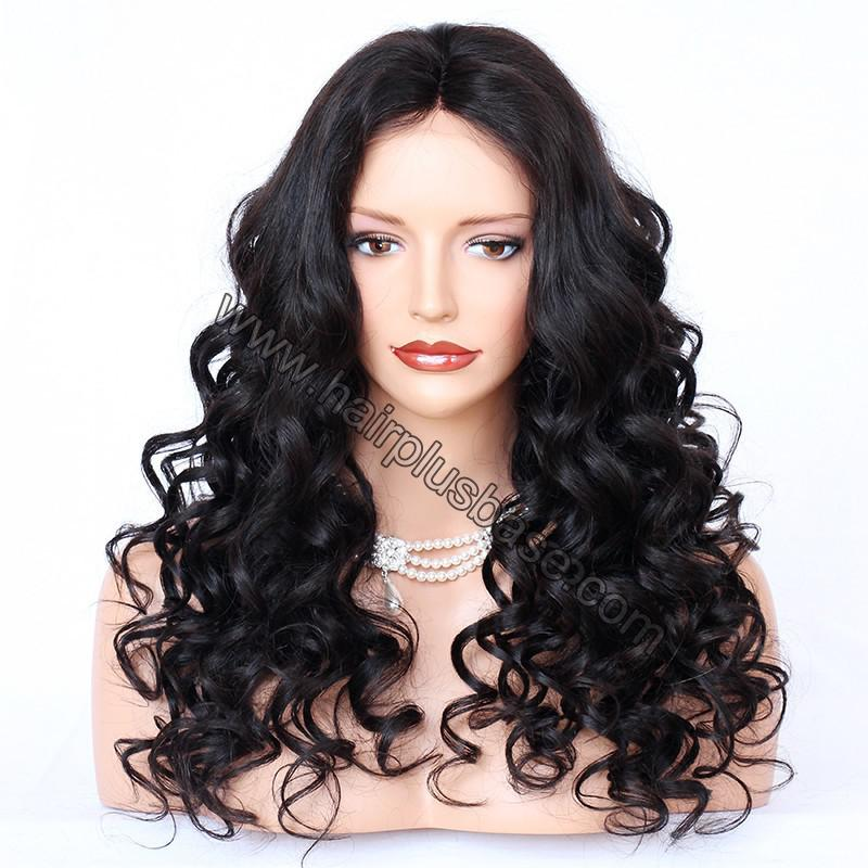 4*4 Glueless Silk Top Full Lace Wigs Indian Human Hair Body Wave 1