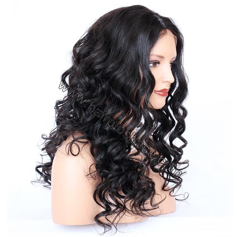 4*4 Glueless Silk Top Full Lace Wigs Indian Human Hair Body Wave 4