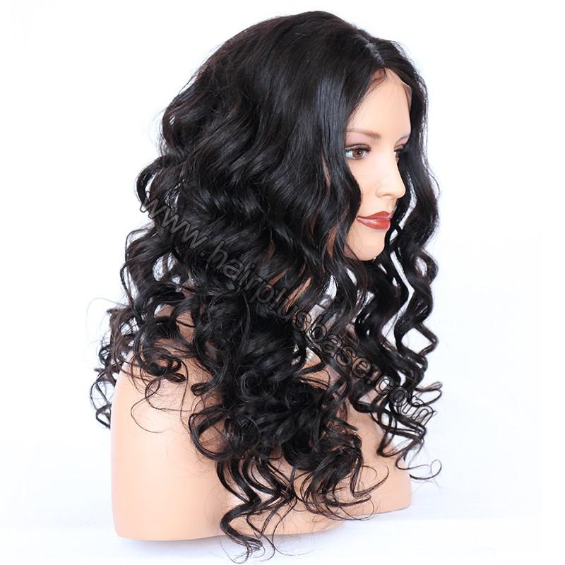 4*4 Glueless Silk Top Full Lace Wigs Indian Human Hair Body Wave 5