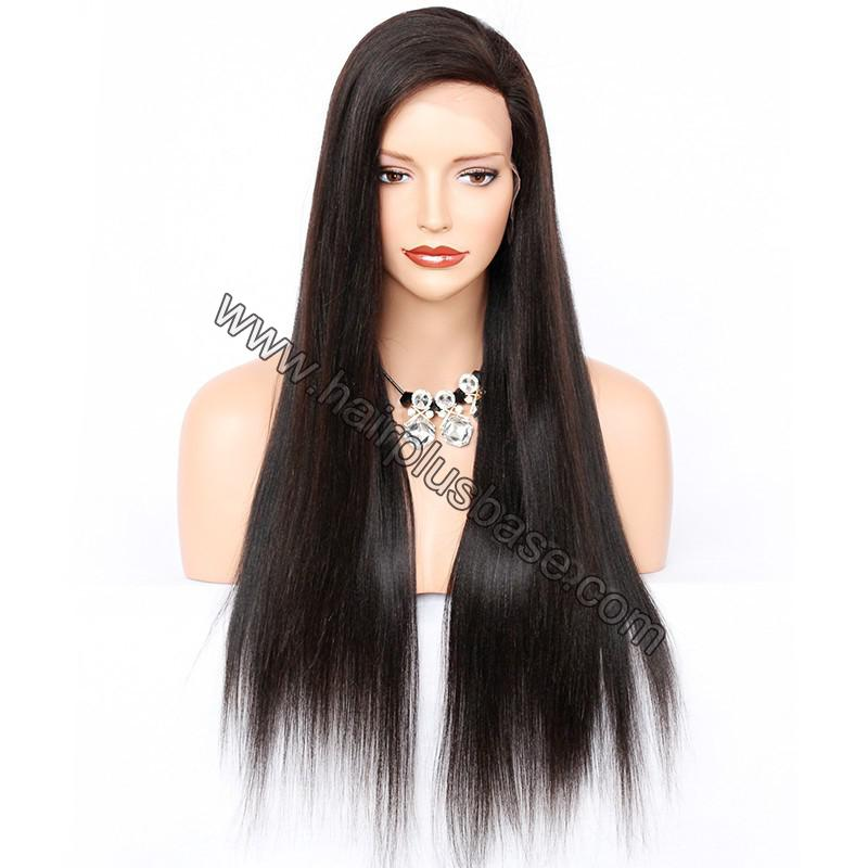 4*4  Glueless Silk Top Full Lace Wigs With Straps And Combs Indian Human Hair Yaki Straight 1