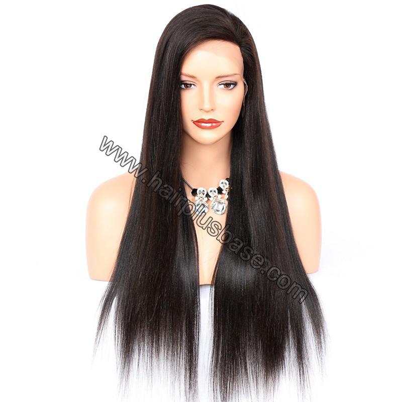 4*4  Glueless Silk Top Full Lace Wigs With Straps And Combs Indian Human Hair Yaki Straight 2