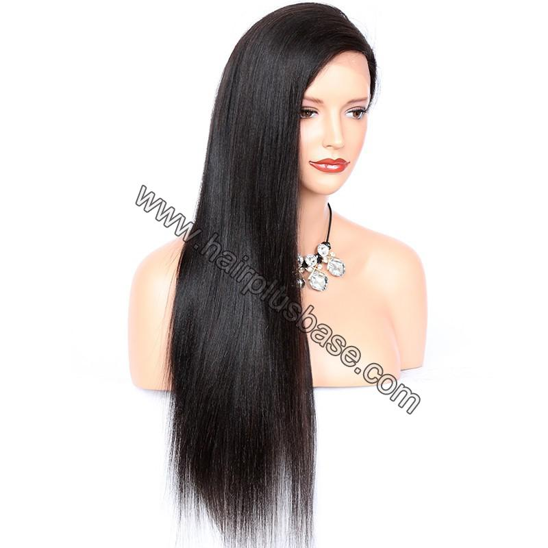4*4  Glueless Silk Top Full Lace Wigs With Straps And Combs Indian Human Hair Yaki Straight 4