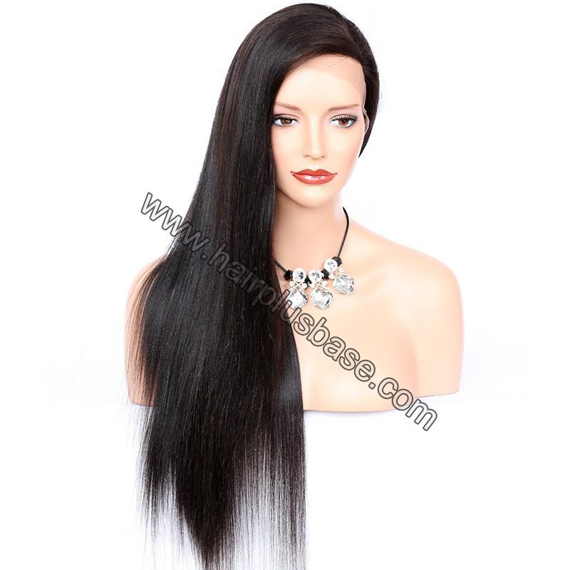 4*4  Glueless Silk Top Full Lace Wigs With Straps And Combs Indian Human Hair Yaki Straight 5