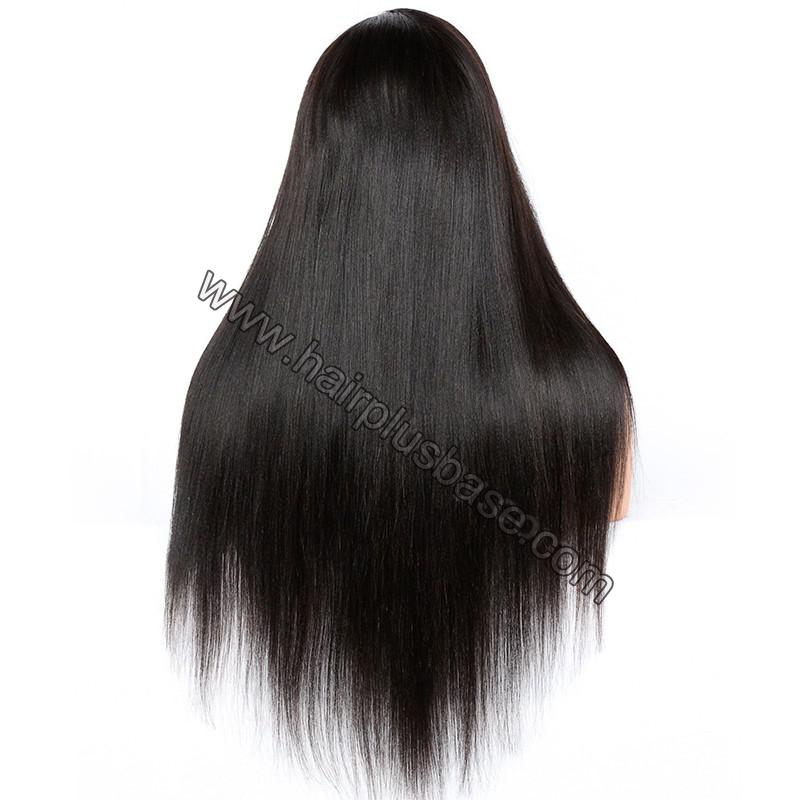 4*4  Glueless Silk Top Full Lace Wigs With Straps And Combs Indian Human Hair Yaki Straight 6