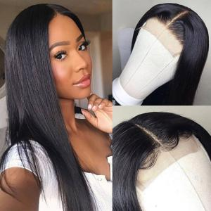 4*4 Human Hair Lace Front Wigs Straight Natural Black Hair Extensions