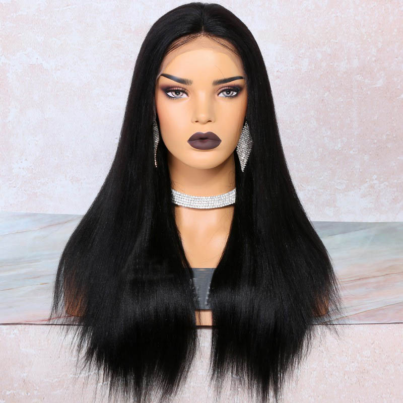 4.5 Inch Deep Part High Density Yaki Straight Lace Front Wigs 250% Density, Indian Remy Hair 0