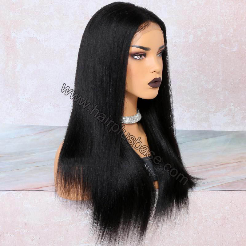 4.5 Inch Deep Part High Density Yaki Straight Lace Front Wigs 250% Density, Indian Remy Hair 2