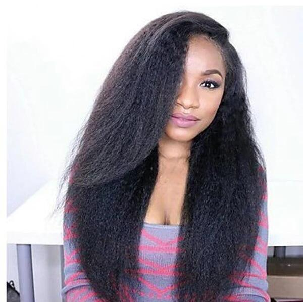 4.5 Inches Deep Part 150% Density Pre Plucked Hairline Kinky Straight 360 Lace Wigs, 100% Brazilian Virgin Hair