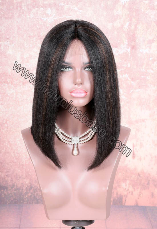 4.5 Inches Deep Part Lace Front Wigs Indian Remy Hair Yaki Straight Hightlights Color Thick Hair Bob Wig
