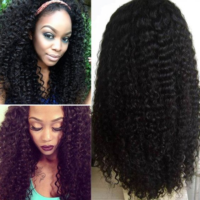 4.5 Inches Deep Part Pre Plucked Hairline Kinky Curl 360 Lace Wigs 180% Density Brazilian Virgin Hair