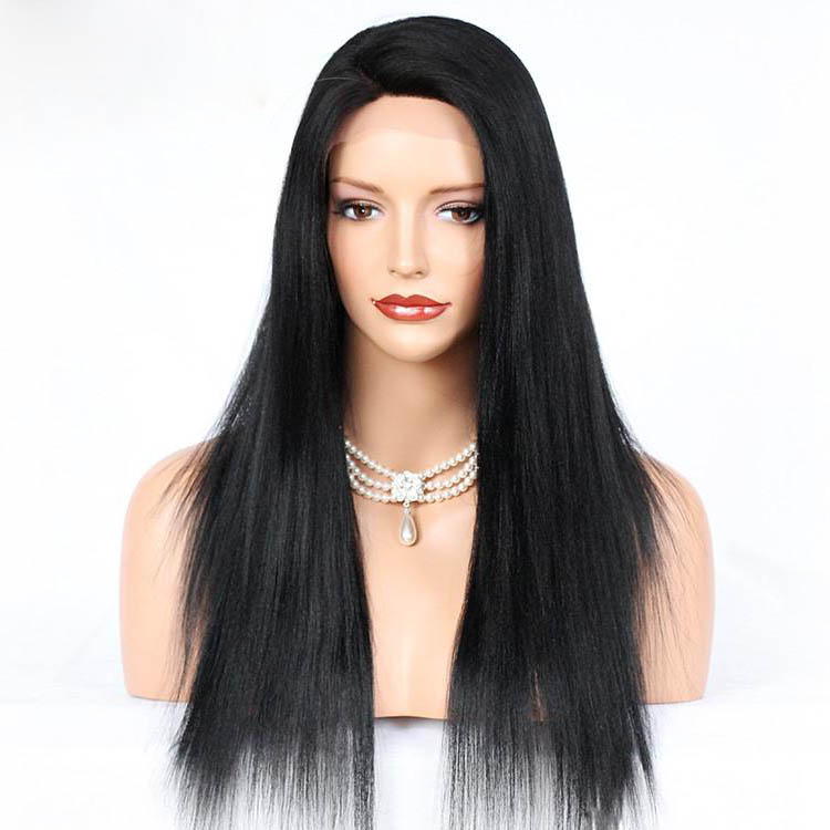 4.5 Inches Deep Part Yaki Straight Lace Front Wigs Indian Remy Hair, Hot C Part