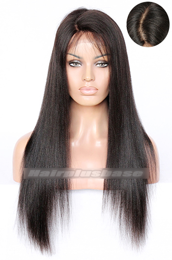 "20 Inch Light Yaki Indian Remy Hair 4.5"" Super Deep C Side Part Lace Front Wigs"