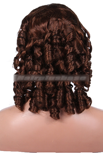 Indian Remy Hair 4# Color 18inches Medium Size Spiral Curl Clearance Glueless Lace Front Wigs