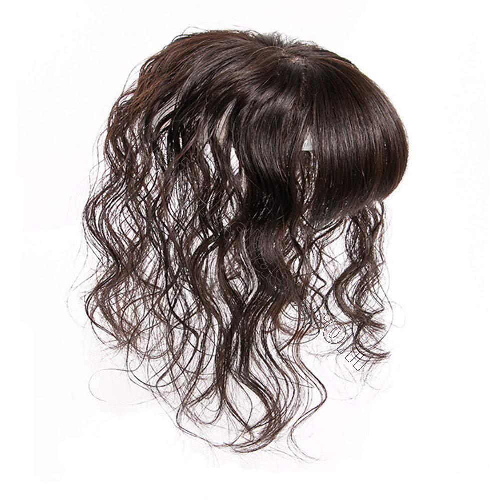 4 Inch x 4.7 Inch Silk Base Human Hair Crown Topper with Bangs Natural Curly Hairpiece for Women with Thin Hair 2