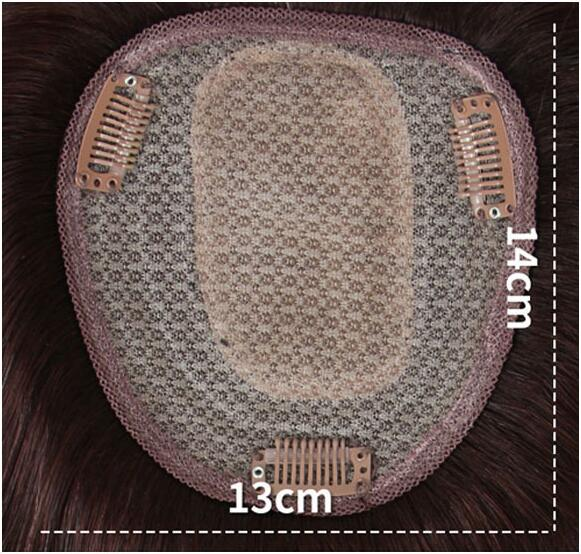 4 Inch x 4.7 Inch Silk Base Human Hair Crown Topper with Bangs Natural Curly Hairpiece for Women with Thin Hair 3