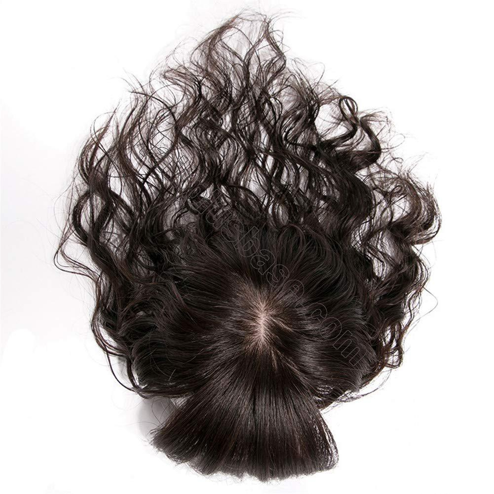 4 Inch x 4.7 Inch Silk Base Human Hair Crown Topper with Bangs Natural Curly Hairpiece for Women with Thin Hair 4