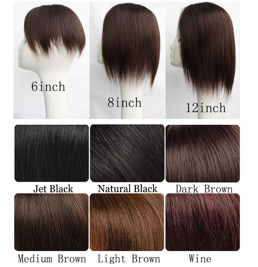 """4"""" x 4.7"""" Silk Base Human Hair Crown Topper with Bangs Natural Curly Hairpiece for Women with Thin Hair 2"""