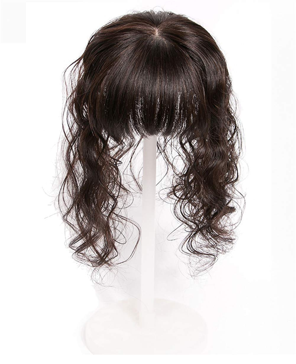 """4"""" x 4.7"""" Silk Base Human Hair Crown Topper with Bangs Natural Curly Hairpiece for Women with Thin Hair 6"""
