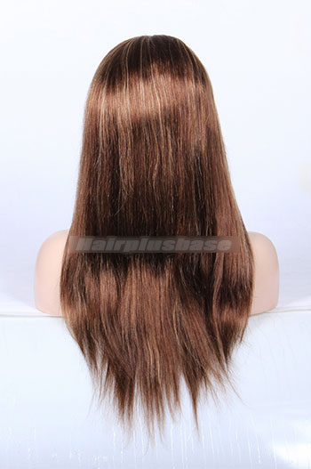 4/27# Highlights Color Indian Remy Human Hair Silky Straight Full Lace Wigs