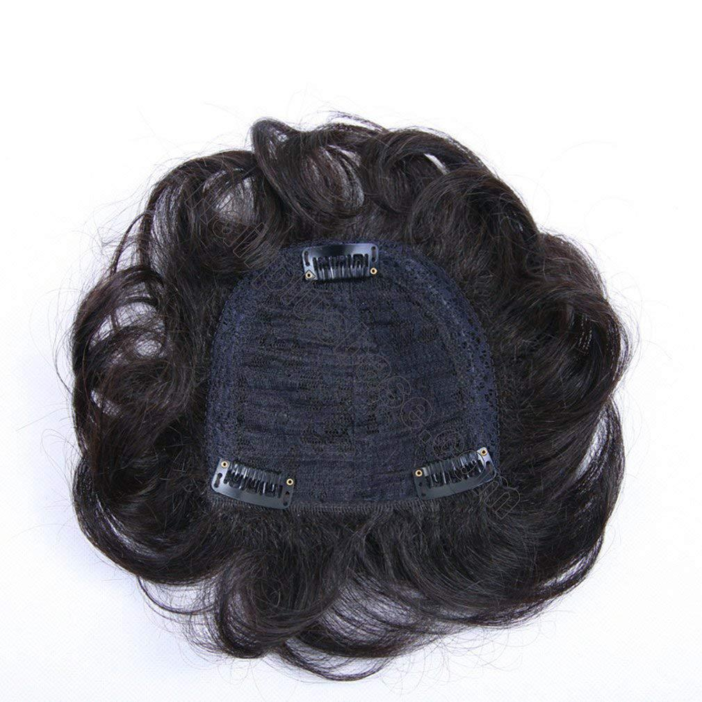 5.5 Inch Real Human Hair Crown topper for Short Hair Clip in Wavy Hairpieces for Women with Thinning Hair 2