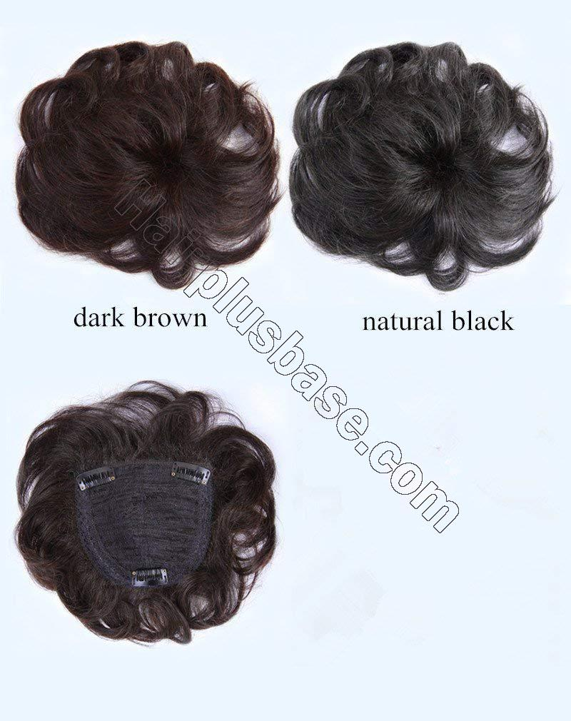 5.5 Inch Real Human Hair Crown topper for Short Hair Clip in Wavy Hairpieces for Women with Thinning Hair 4