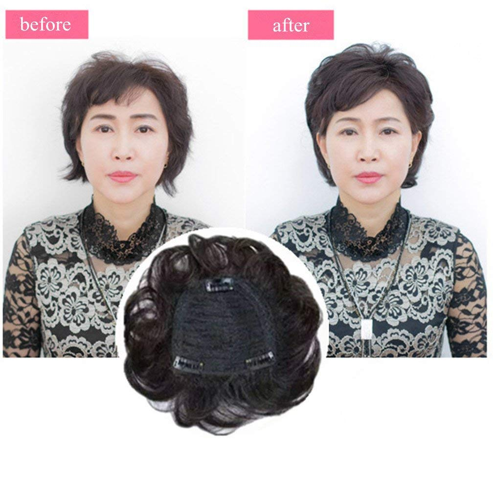 5.5 Inch Real Human Hair Crown topper for Short Hair Clip in Wavy Hairpieces for Women with Thinning Hair 6