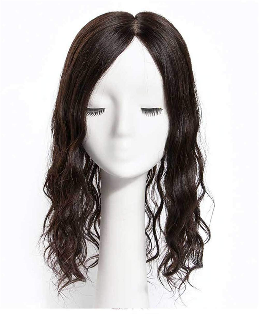 5.5 Inch x 5.5 Inch Silk Base Human Hair Crown Toppers for Women with Thinning and Grey Hair, Wavy Clips on Top Wiglet Hairpieces 2