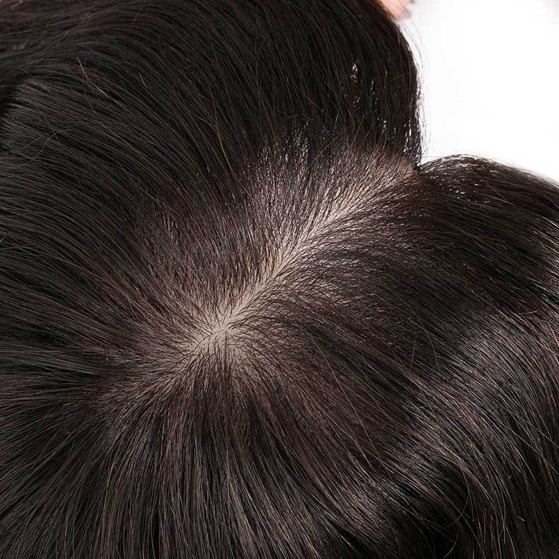 5.5 Inch x 5.5 Inch Silk Base Human Hair Crown Toppers for Women with Thinning and Grey Hair, Wavy Clips on Top Wiglet Hairpieces 3