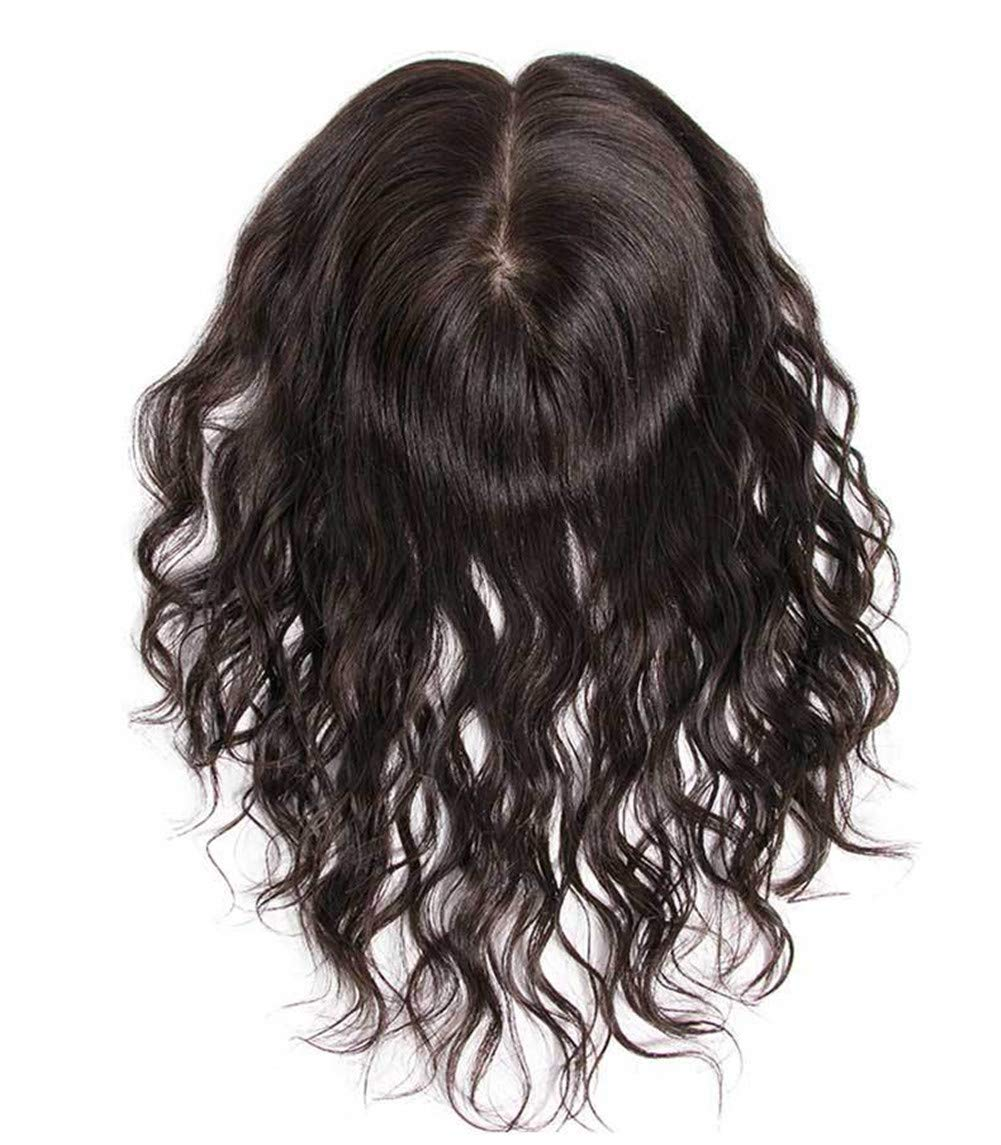5.5 Inch x 5.5 Inch Silk Base Human Hair Crown Toppers for Women with Thinning and Grey Hair, Wavy Clips on Top Wiglet Hairpieces 4