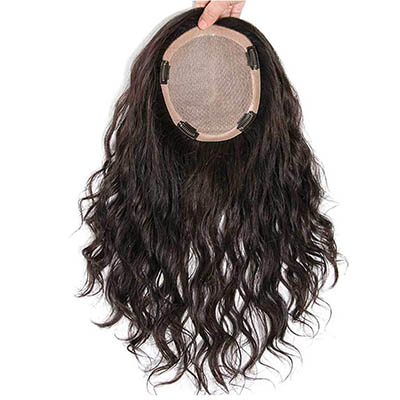 "5.5"" x 5.5"" Silk Base Human Hair Crown Toppers for Women with Thinning and Grey Hair, Wavy Clips on Top Wiglet Hairpieces"