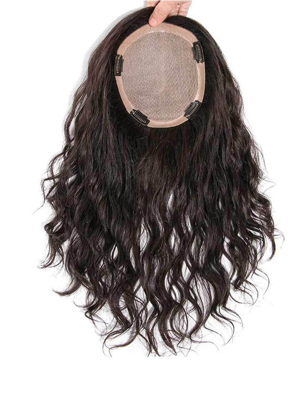 """5.5"""" x 5.5"""" Silk Base Human Hair Crown Toppers for Women with Thinning and Grey Hair, Wavy Clips on Top Wiglet Hairpieces 6"""