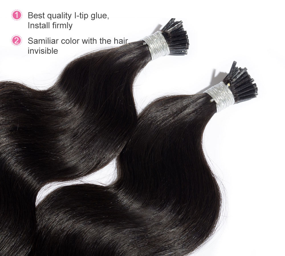 6 30 Inch 1 Jet Black Stick I Tip Body Wave Real Human Hair